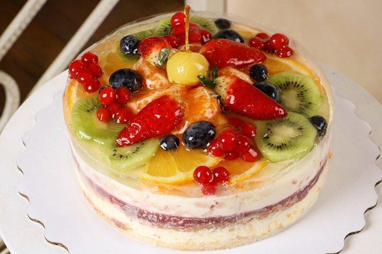 Постный цитрусово-ягодный торт