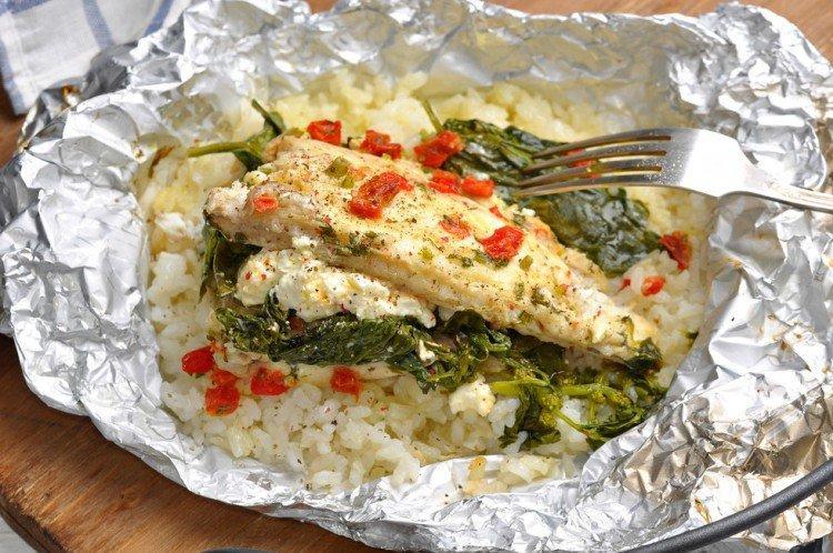 Рыба с рисом в фольге