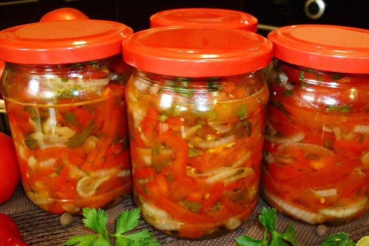 20 простых и вкусных салатов из помидоров на зиму