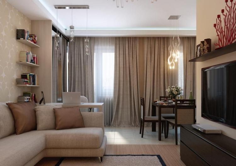 Зонирование - Дизайн гостиной в хрущевке