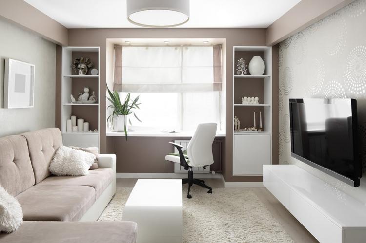 Отделка стен - Дизайн гостиной в хрущевке