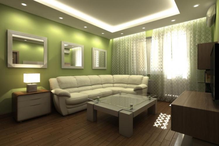Отделка потолка - Дизайн гостиной в хрущевке