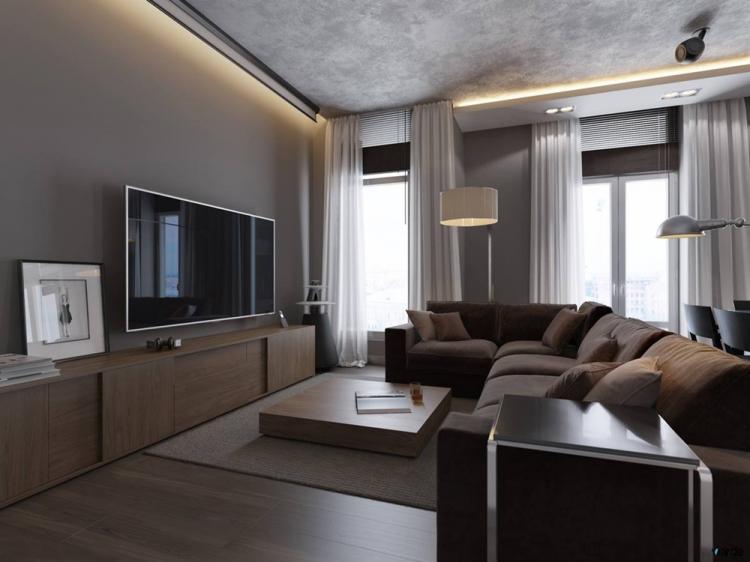 Коричневая гостиная в хрущевке - Дизайн интерьера