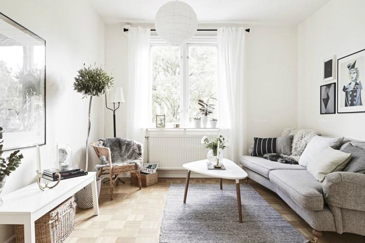 Скандинавский стиль в гостиной в хрущевке - Дизайн интерьера
