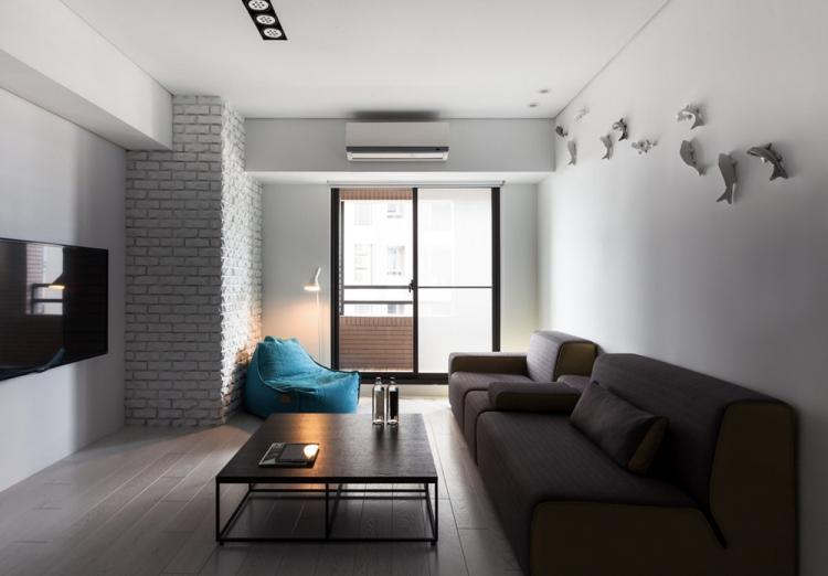 Минималистичная гостиная в хрущевке - Дизайн интерьера