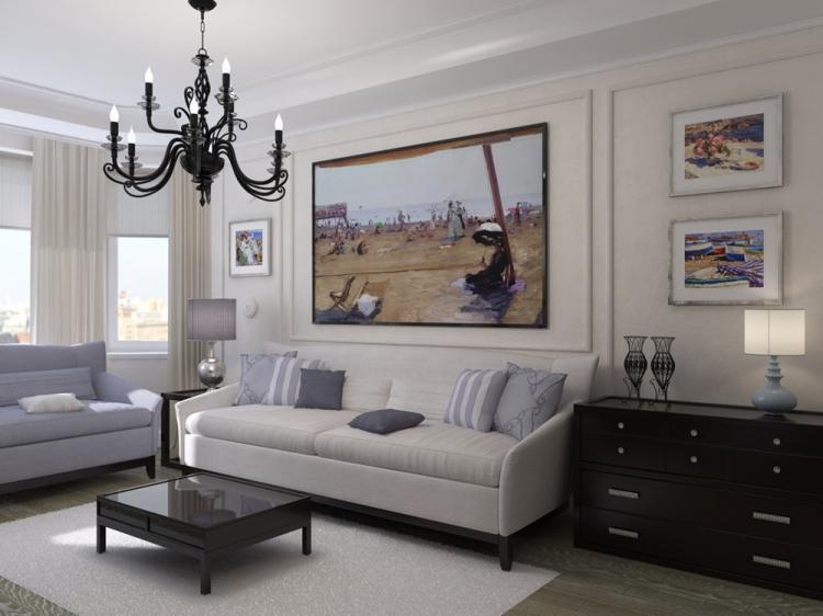 Неоклассика в гостиной в хрущевке - Дизайн интерьера