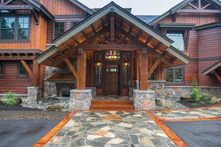 Как оформить крыльцо частного дома - Открытое крыльцо с навесом