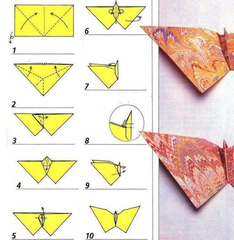 Прямоугольная бабочка из бумаги – как сделать своими руками
