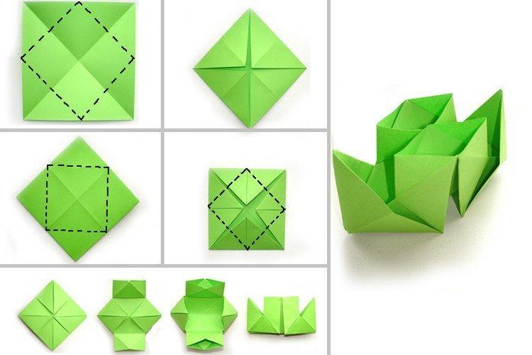 Двухтрубный кораблик оригами из бумаги своими руками