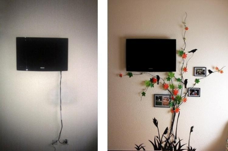 Ветки сухих и искусственных растений - как спрятать провода от телевизора