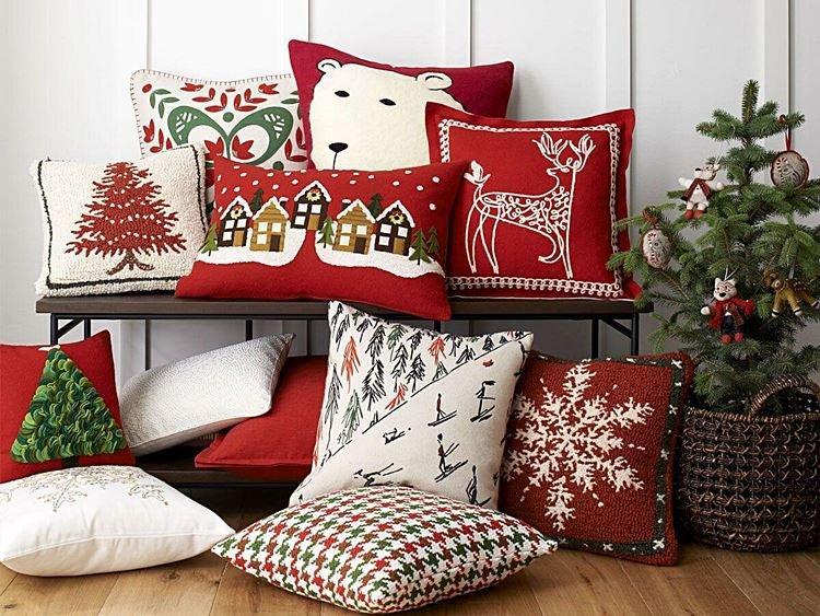 Декоративные подушки - Как украсить комнату на Новый год