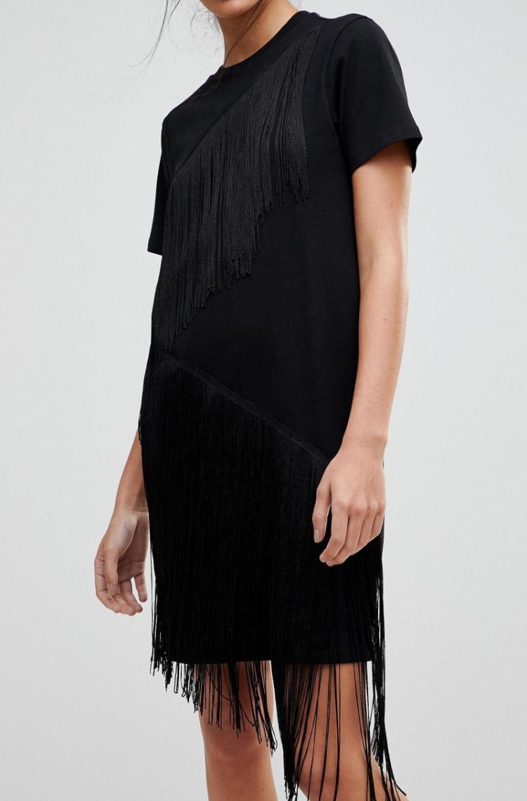 Деликатная бахрома - Как украсить платье своими руками