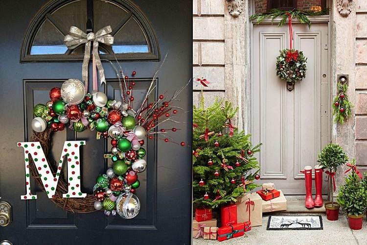 Как украсить входную дверь на Новый год: 10 отличных способов