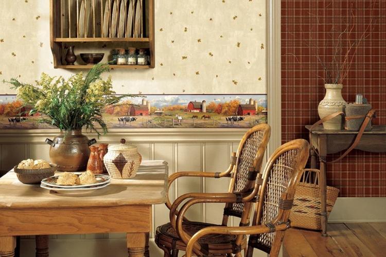 Как комбинировать обои с рисунком - Комбинирование обоев на кухне