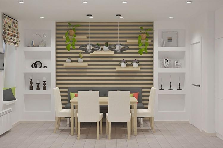 Отделка ниш и настенные панно - Комбинирование обоев на кухне