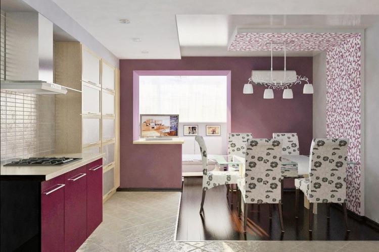 Комбинирование обоев в кухне-гостиной