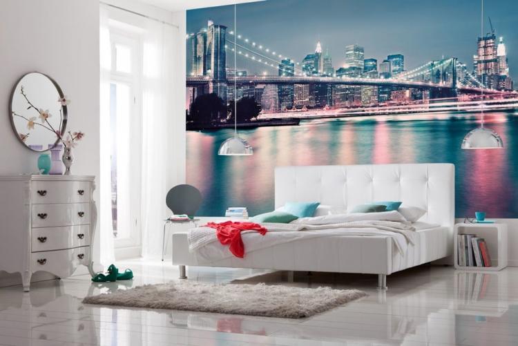 Фотообои в интерьере спальни - Комбинирование обоев в спальне