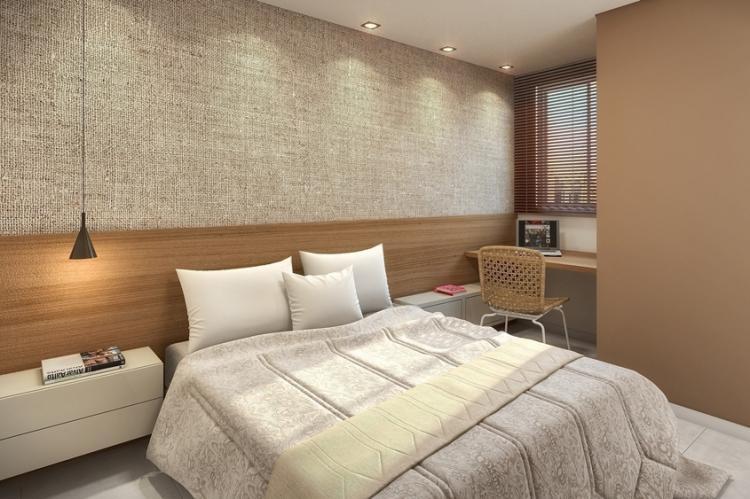 Сочетание фактур - Комбинирование обоев в спальне