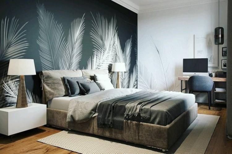 Акцентная стена в спальне - Комбинирование обоев в спальне