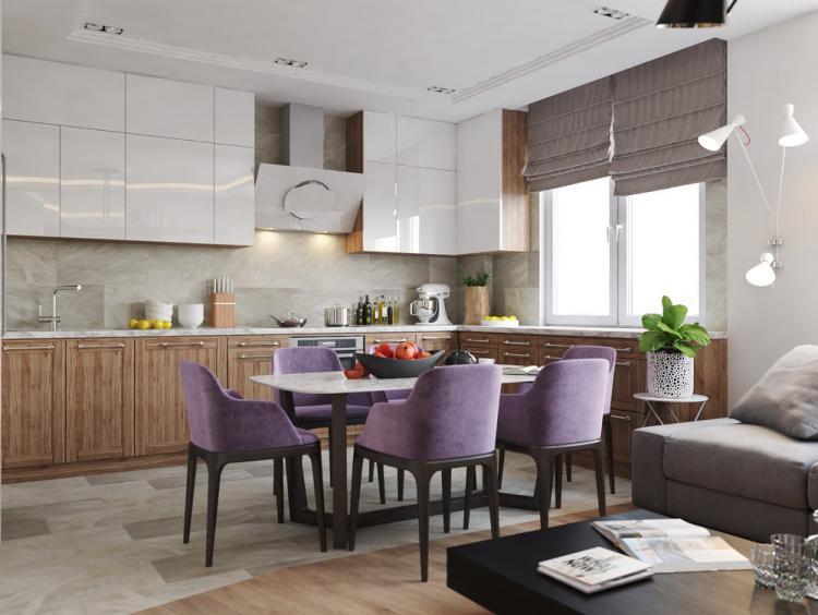 Дизайн кухни-гостиной «Achromatic & Color»