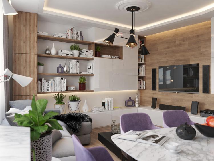 Кухня-гостиная «Achromatic & Color» - дизайн интерьера