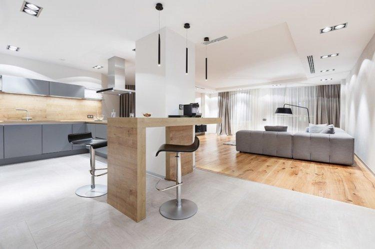 Отделка пола - Дизайн кухни-гостиной в современном стиле