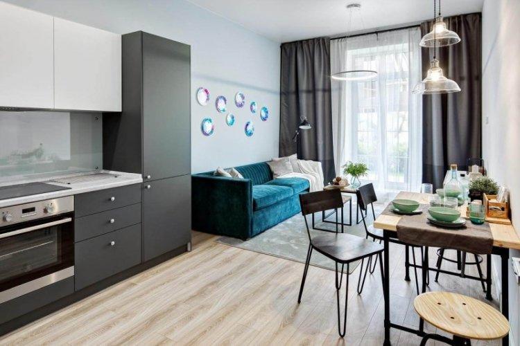 Отделка стен - Дизайн кухни-гостиной в современном стиле