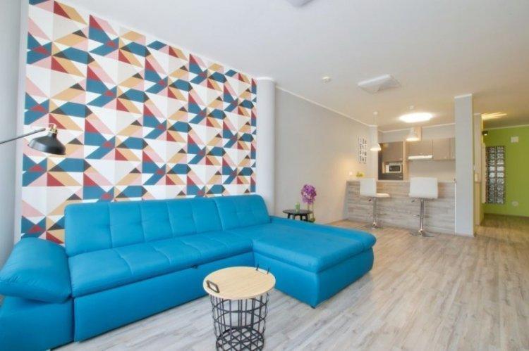 Дизайн потолка - Дизайн кухни-гостиной в современном стиле