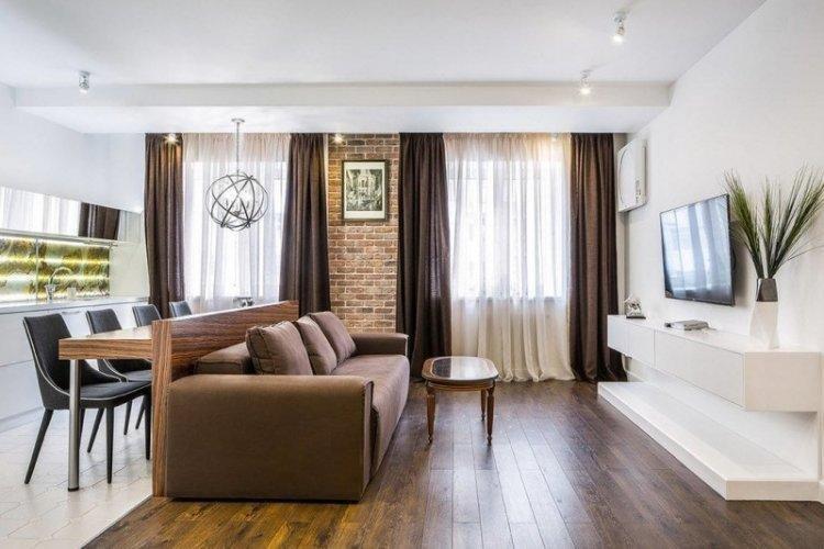 Шторы и текстиль - Дизайн кухни-гостиной в современном стиле