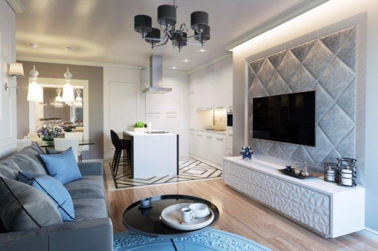 Освещение и подсветка - Дизайн кухни-гостиной в современном стиле