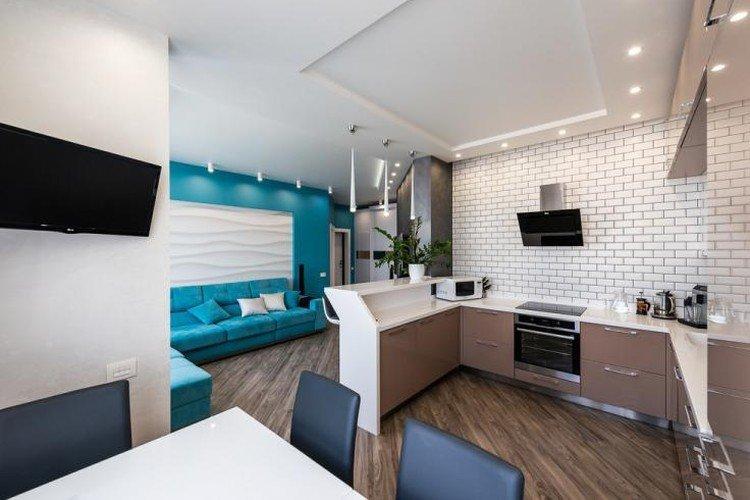 Дизайн кухни-гостиной в современном стиле - фото