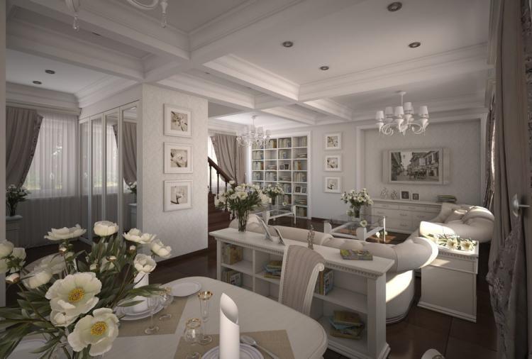 Кухня-гостиная в стиле неоклассика - дизайн интерьера
