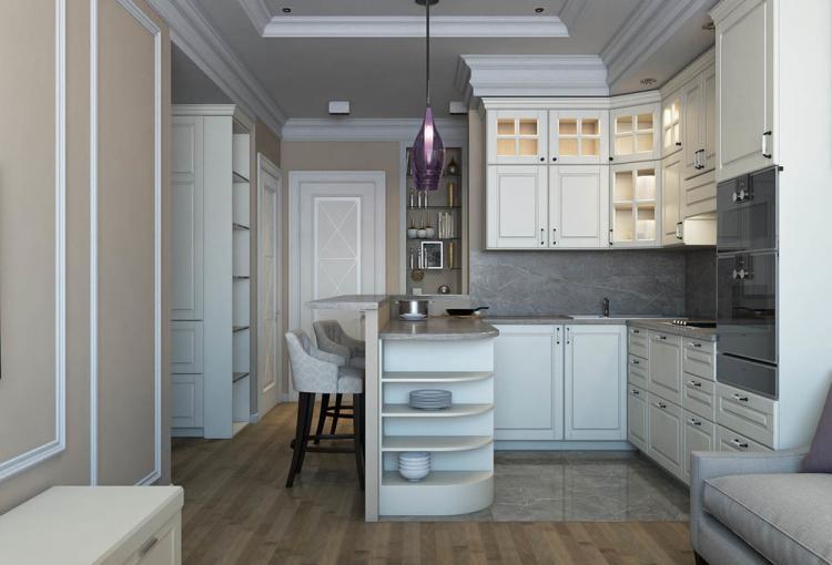 Кухня-гостиная в стиле современная классика - дизайн интерьера