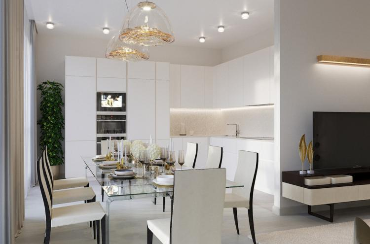 Кухня-гостиная в светлых тонах, 40 кв.м. - дизайн интерьера