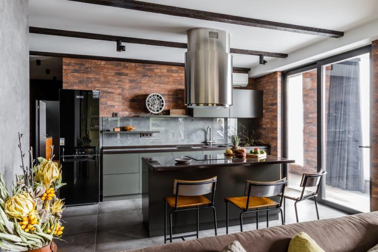 Кухня с островом в стиле лофт - Дизайн интерьера