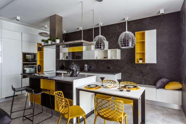 Цветовые решения - Кухня с островом