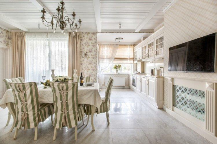 Кухня-столовая в стиле прованс - Дизайн интерьера