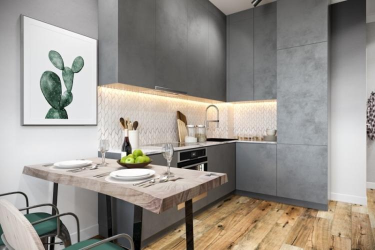 Серая кухня в стиле модерн - Дизайн интерьера
