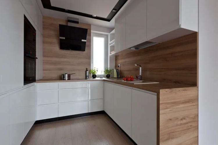 Ламинат на стене на кухне - фото
