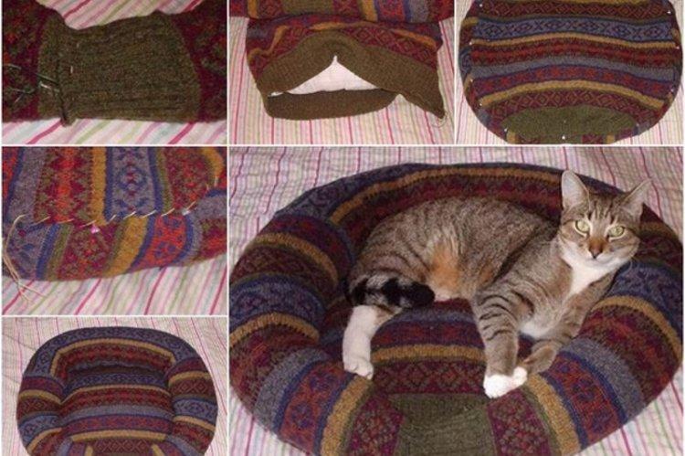 Вязаная круглая лежанка для кошки своими руками