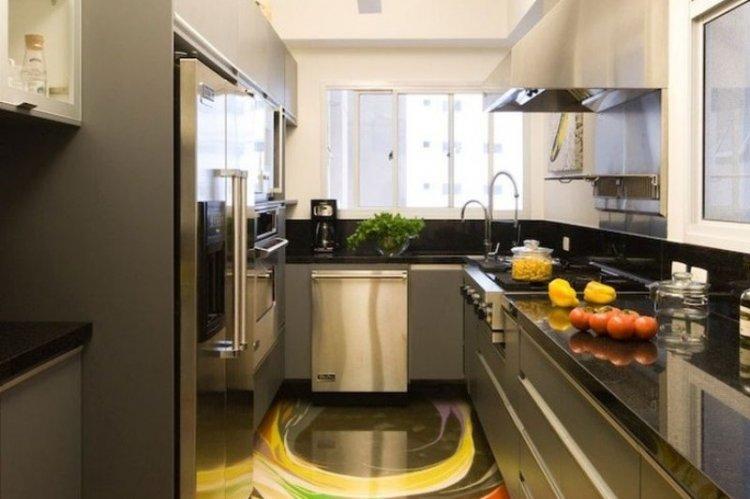 Наливные 3D-полы на кухне - фото