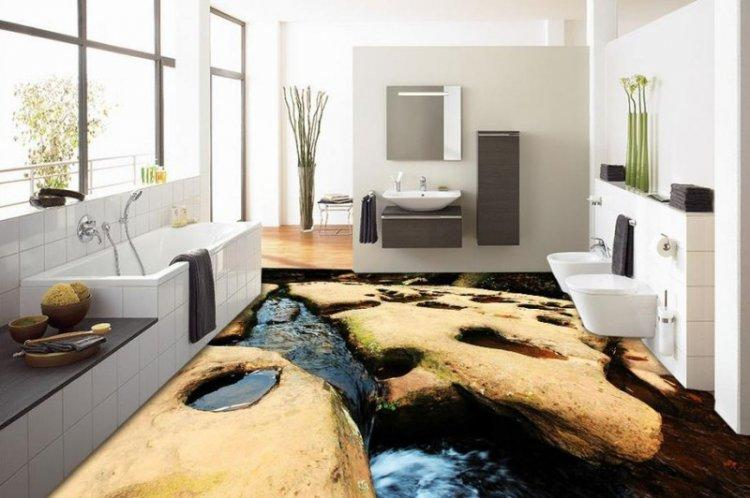 Наливные 3D-полы в ванной комнате - фото
