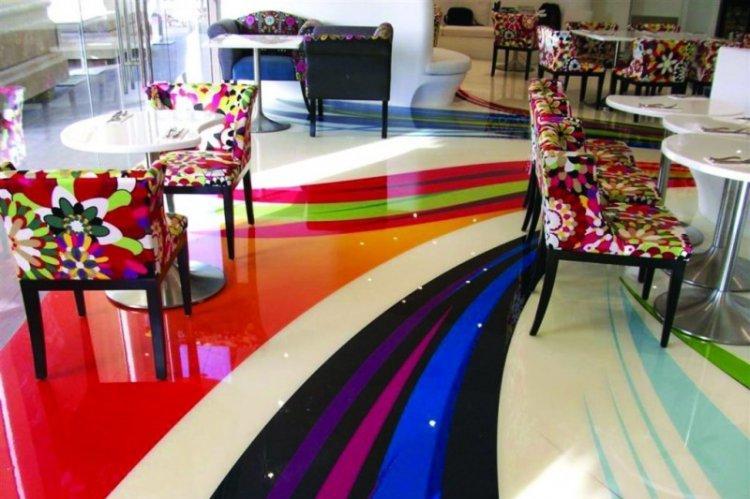 Наливные 3D-полы в гостиной - фото