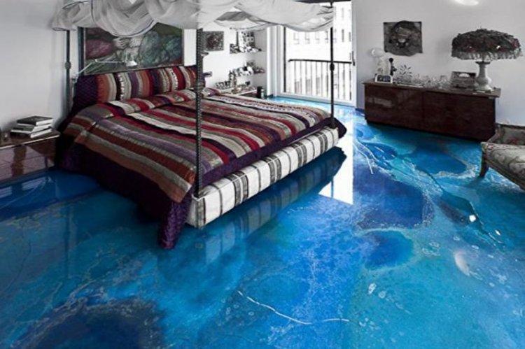 Наливные 3D-полы в спальне - фото