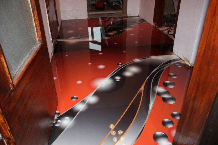 Наливные 3D-полы в прихожей и коридоре - фото