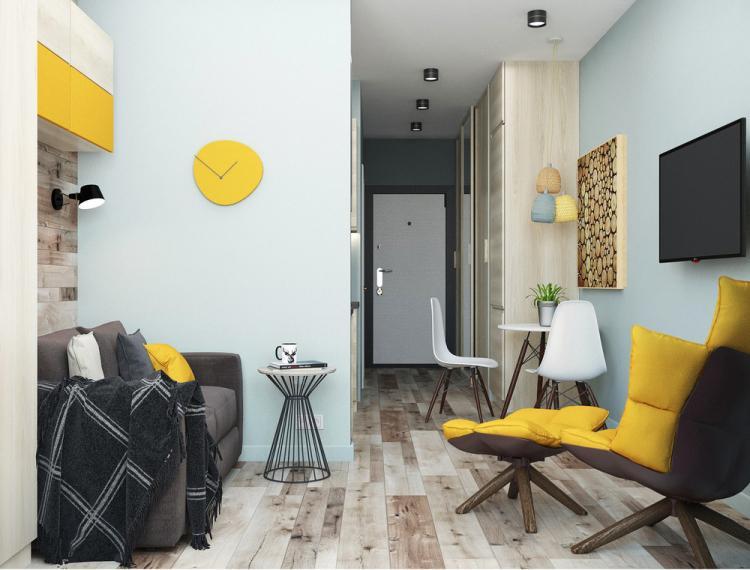 «Небесная лазурь»: Квартира 27 кв.м. - дизайн интерьера