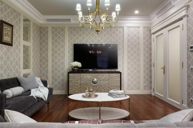 Серый - Цвет обоев для гостиной