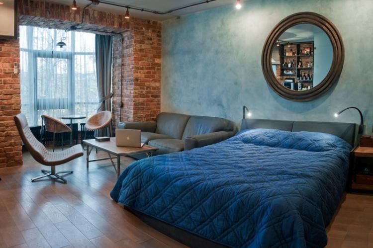Обои для спальни в стиле лофт