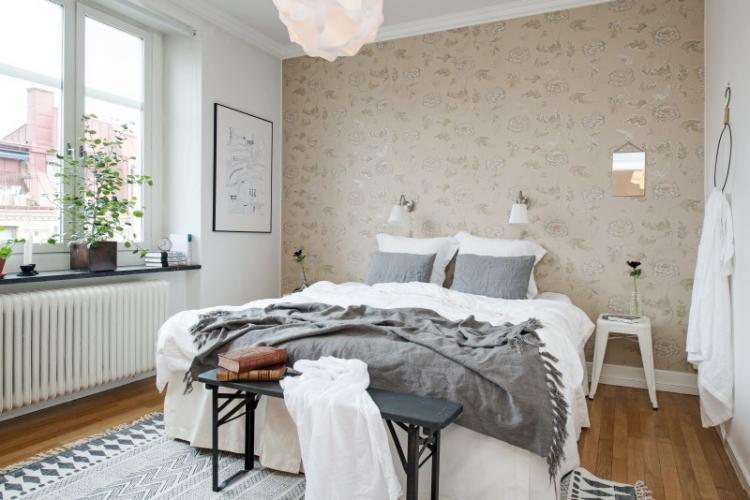 Бежевый - Цвет обоев для спальни