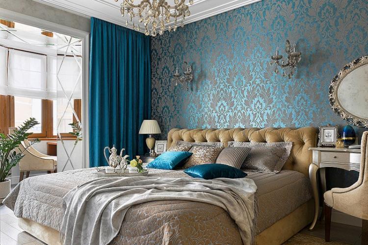 Синий - Цвет обоев для спальни